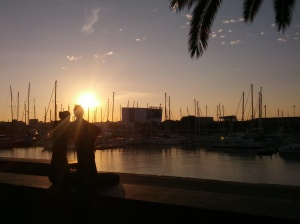 Barcelona pier, one fine summer morning