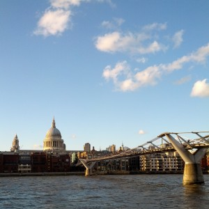 St Paul's in the setting sun, and the Millennium Bridge