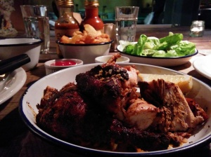 One half chicken + two sides = two full and happy bellies (with a smidgeon of room for sharing a dessert)